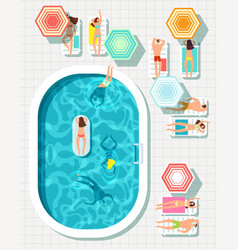 people at swimming pool summer outdoor vector image