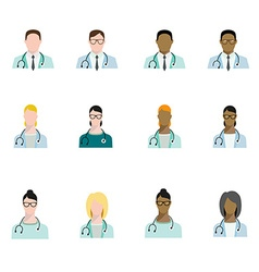 Set of doctor avatars profession basic characters vector image
