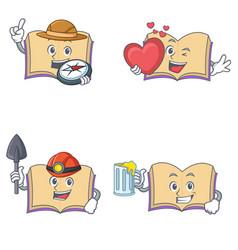 Set of open book character with explorer heart vector