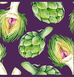 watercolor artichoke pattern vector image