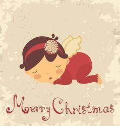 Christmas angel card vector image