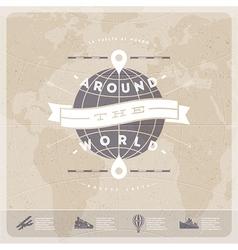 Around the world travel vintage type design vector image vector image