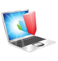 bar chart graph laptop concept vector image vector image