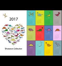Dinosaurs calendar 2017 design vector