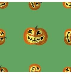 Halloween Smiling Pumpkin Seamless Pattern vector image