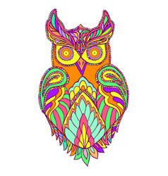 owl fantasy bird color page vector image vector image
