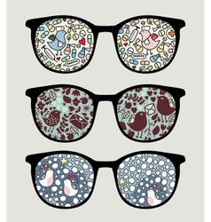 Retro sunglasses with funny birds reflection vector