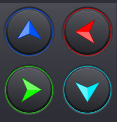 set of black buttons with colored direction arrows vector image