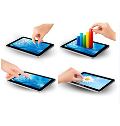 Set of tablet screen with graph and a hand vector image vector image