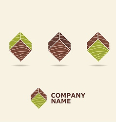 wood style logotype vector image vector image