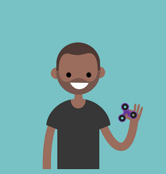 young black character spinning a hand toy stress vector image vector image