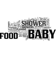 baby shower food what and how to serve text word vector image vector image