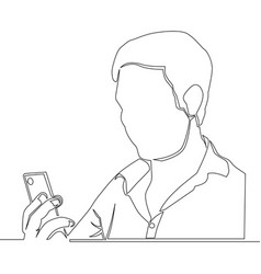 continuous line man using a smartphone vector image