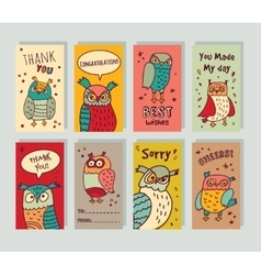 Greeting card owls and signs set vector image