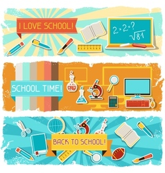 Horizontal banners with an of school objects vector image vector image