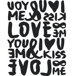 I love seamless pattern Brush and ink Calligraphy vector image vector image