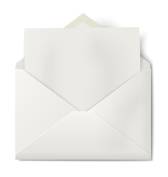 Opened envelope with sheet of paper inside vector image vector image