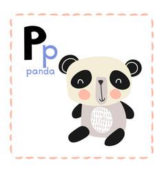 Alphabet letter p for panda for teaching kids vector