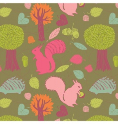 Autumn forest seamless pattern vector