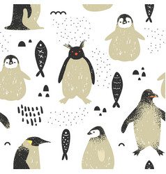 Baby shower seamless pattern with cute penguins vector