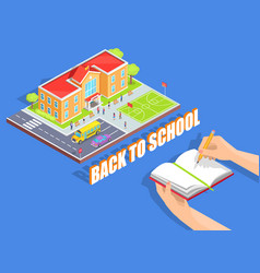 Back to school on blue background vector