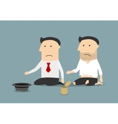 Bankrupt businessman and pauper begging money vector image