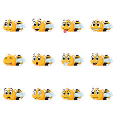 Bee with different facial expressions vector