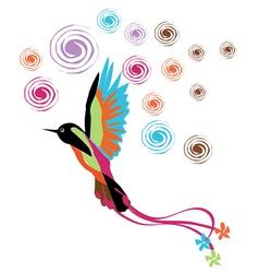 bird colored color pink blue brown orange vector image