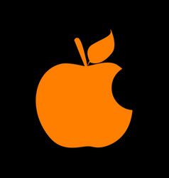 Bite apple sign orange icon on black background vector