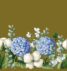 Border with hortensia cotton flowers vector