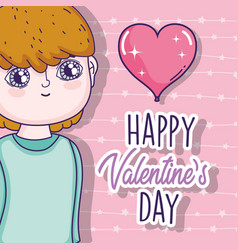 Boy with heart to valentine day celebration vector
