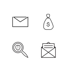 business simple outlined icons set vector image