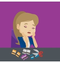 Business woman bankrupt cutting his credit card vector image