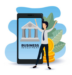 Businessman with smartphone data information and vector