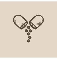 Capsule pill sketch icon vector