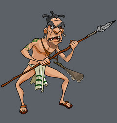 Cartoon formidable male aboriginal maori tribe vector