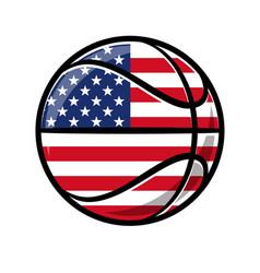 Cartoon stylized basketball with usa flag vector