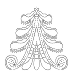 Christmas tree pattern for coloring book vector