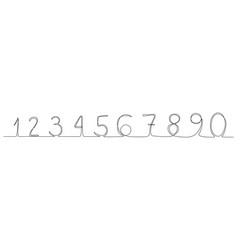 continuous line numbers 0-9 new minimalism vector image