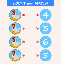 Count and match hen cartoon vector