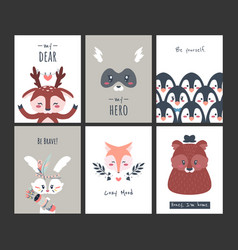 cute animal posters funny woodland creatures for vector image