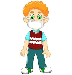 Cute boy cartoon wearing breath mask for protect a vector