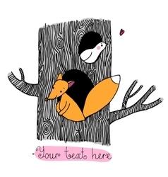 Cute cartoon fox and bird on the tree vector