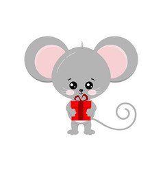 Cute mouse with gift isolated on white background vector