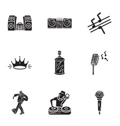 Dance hiphop icon set simple style vector