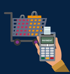 Dataphone in the hand with receipt and shopping vector