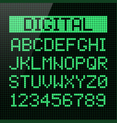 Digital font alphabet and numbers vector