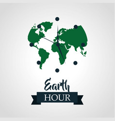 earth hour green planet clock vector image