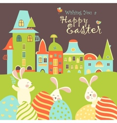 Easter bunnies and eggs vector