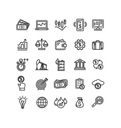 finance investment sign black thin line icon set vector image